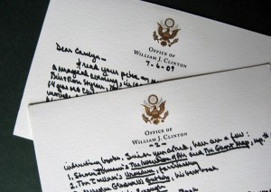 Note from Bill Clinton to Carolyn Kellogg